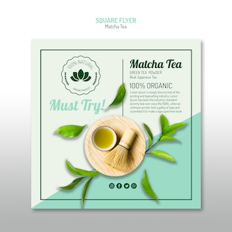 Minimalist matcha tea square flyer
