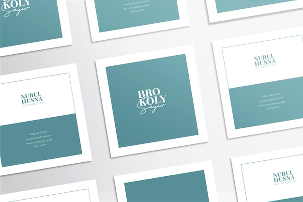 Minimalist and modern elegant square business card mockup