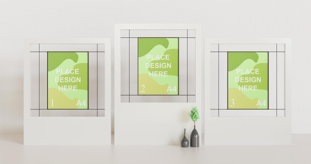 Минималистичный макет рамки с несколькими плакатами на белой кайме