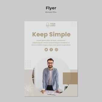 Stile di volantino ufficio minimalista