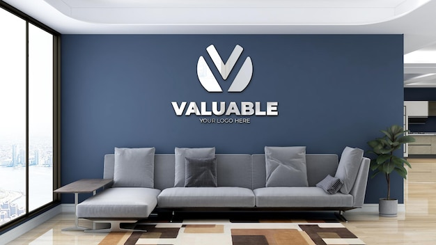 Minimalist office lobby waiting room wall logo mockup