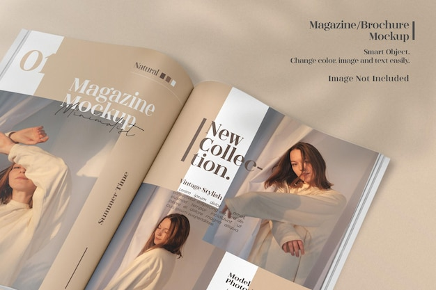 ミニマリストが開いた雑誌またはカタログのモックアップ