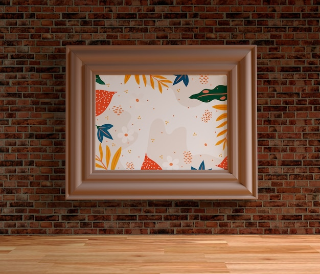 Minimalist painting frame hanging on brick wall
