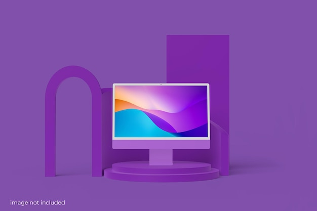 ミニマリストpcデスクトップ画面モックアップ