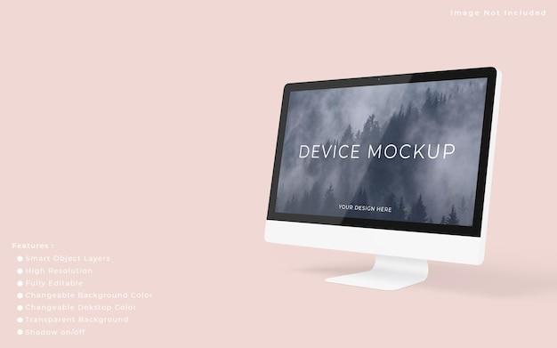 ミニマリストのpcデスクトップ画面のモックアップ