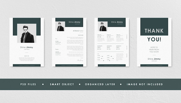 Minimalist peach resume curriculum template bundle