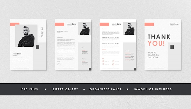 Minimalist peach resume curriculum template bundle