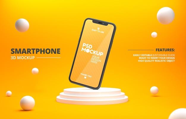 Минималистичный макет телефона на подиуме и плавающие шары