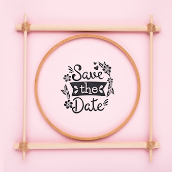 Minimalist pink frame save the date mock-up