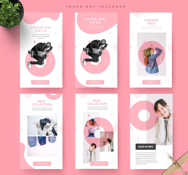 シンプルなピンクのソーシャルメディアinstagramストーリーファッション販売バナーテンプレート