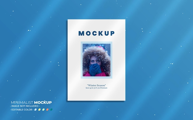 Minimalist poster mockup composition with overlays
