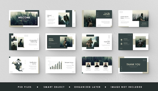 Minimalist presentation slide vintage green forest power point landing page keynote