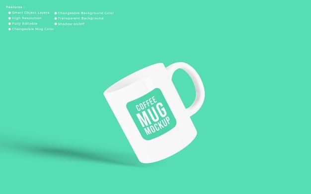 편집 가능한 배경색이 있는 미니멀한 현실적인 커피 컵 머그업