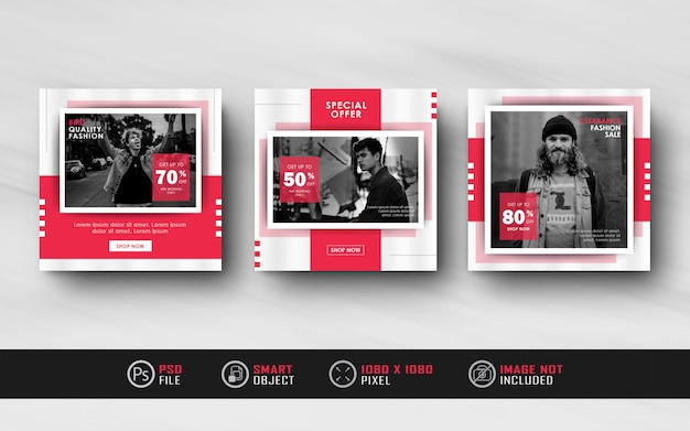Minimalist red instagram social media post feed banner template collection