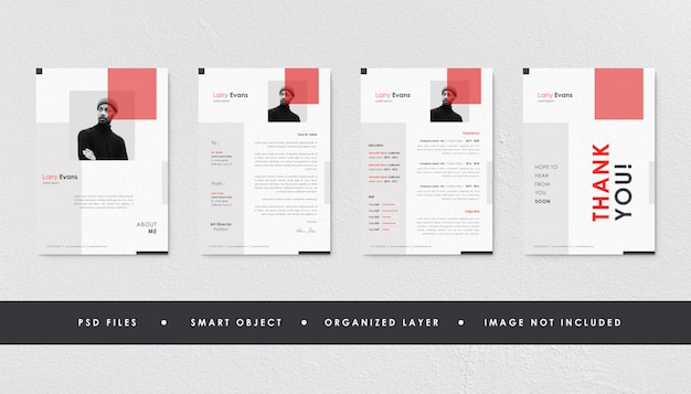 Minimalist red resume curriculum template bundle