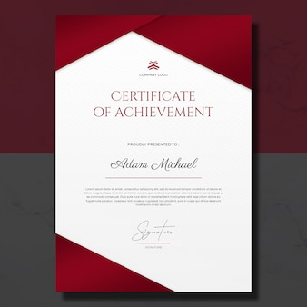 Minimalist red white certificate of achievement template