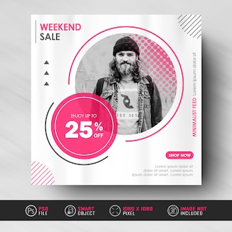 Minimalist red white instagram social media feed post fashion sale  banner template
