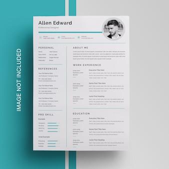 ミニマリストの履歴書カリキュラムテンプレートデザイン