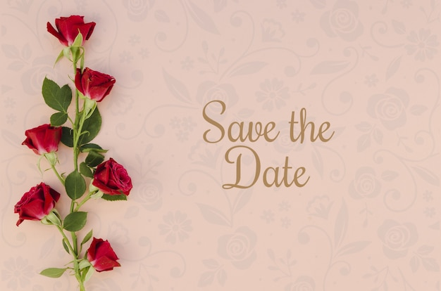 Minimalist save the date with roses
