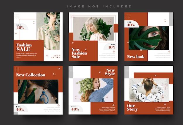 シンプルなソーシャルメディアのinstagramフィードの投稿とストーリーのファッション販売バナーテンプレート