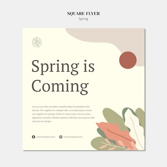 Минималистский весенний квадратный шаблон флаера