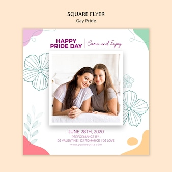 Minimalist square flyer gay pride template