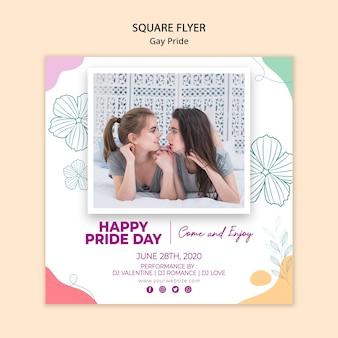 Orgoglio gay modello minimalista di volantini quadrati