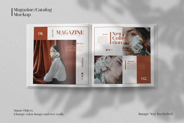 Minimalist square magazine or brochure catalog mockup with realistic shadow