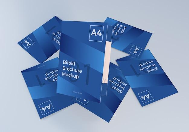 ミニマリストスタッキングa4二つ折りパンフレット紙モックアップ