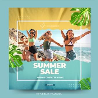 Минималистичная летняя распродажа, модная лента для постов в instagram