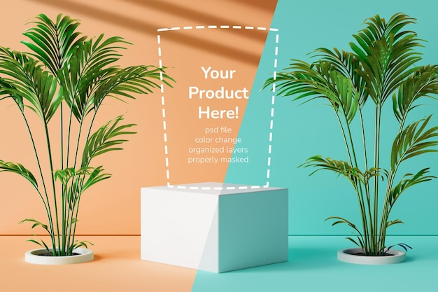 ミニマルな夏をテーマにした商品ディスプレイ台座 構成色