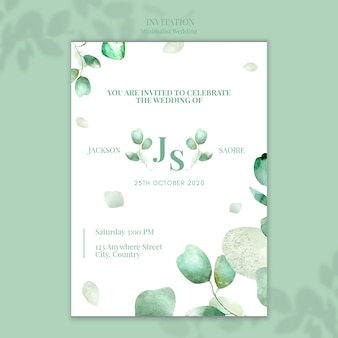 Minimalist wedding invitation design Free Psd