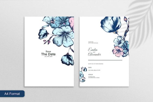 白い背景の上の青い花とミニマリストの結婚式の招待状のテンプレート