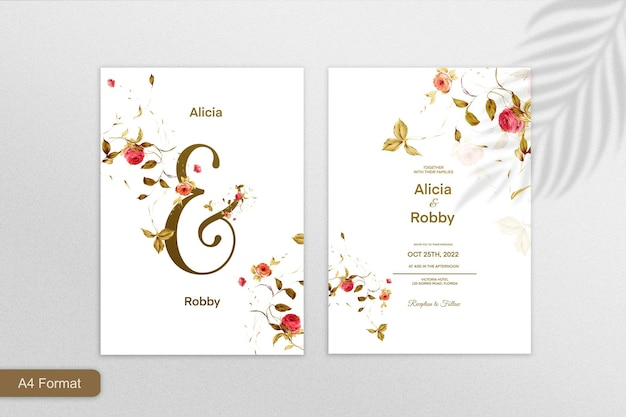 白い背景に葉を持つミニマリストの結婚式の招待状のテンプレート