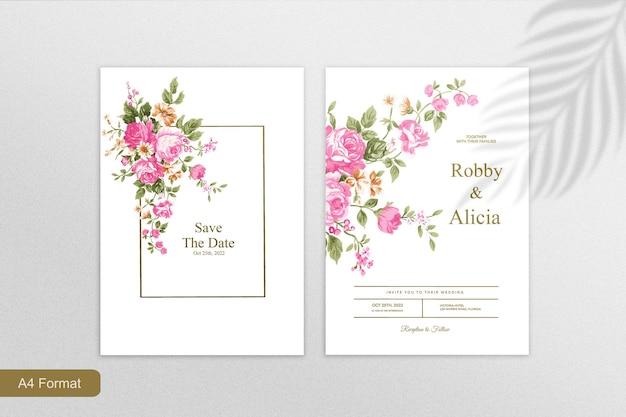 Minimalist wedding invitation template with pink flower on white background