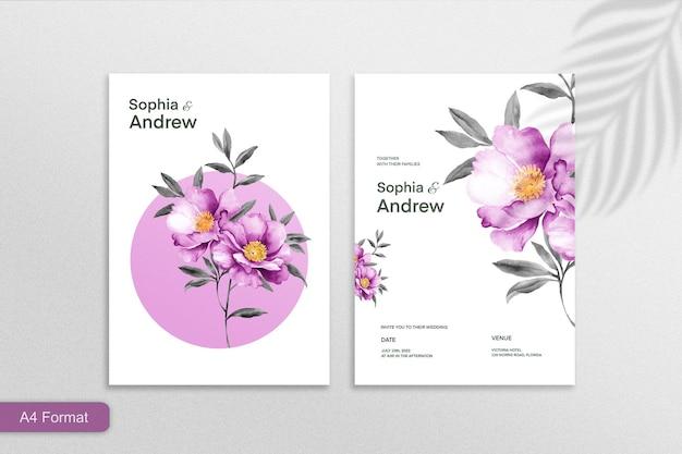 Minimalist wedding invitation template with purple flower on white background
