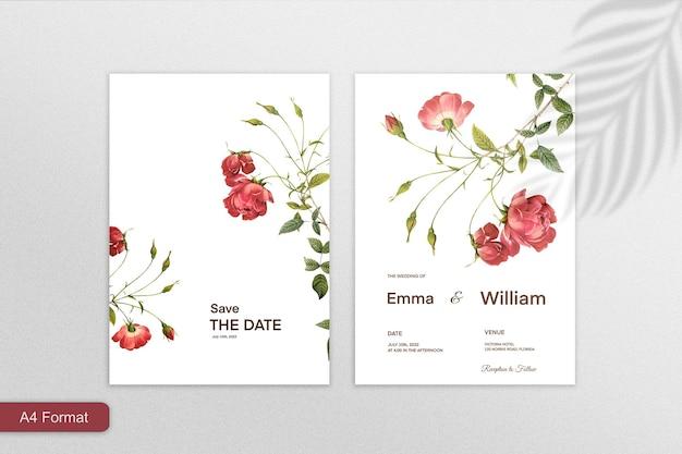 白い背景の上の赤い花とミニマリストの結婚式の招待状のテンプレート