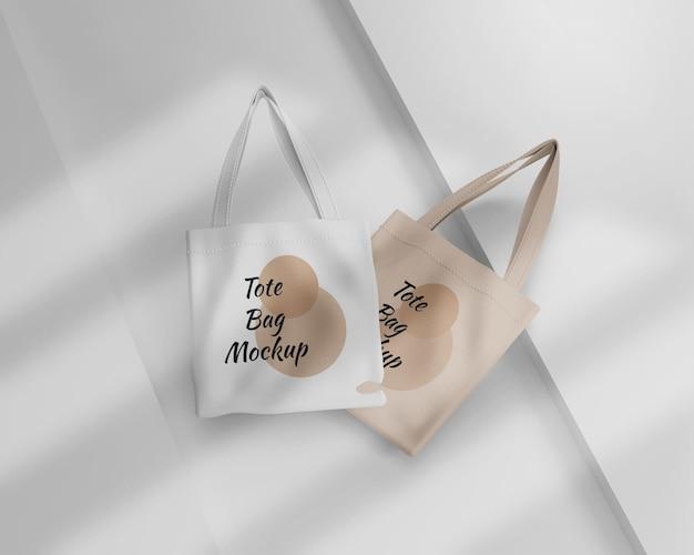 Minimalist white and pastel tote bag mockup