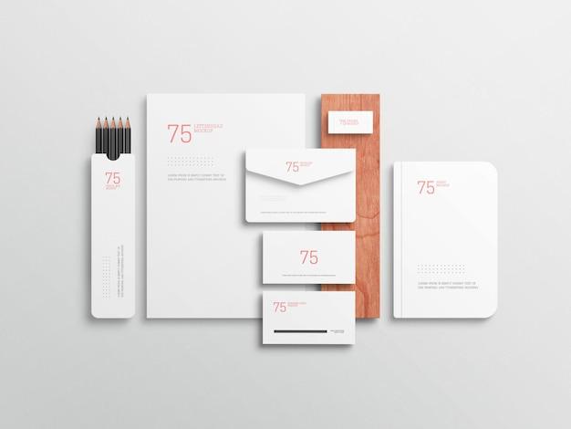 Minimalist white stationary set mockup