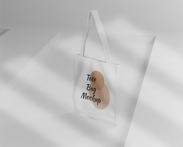 Minimalist white tote bag mockup