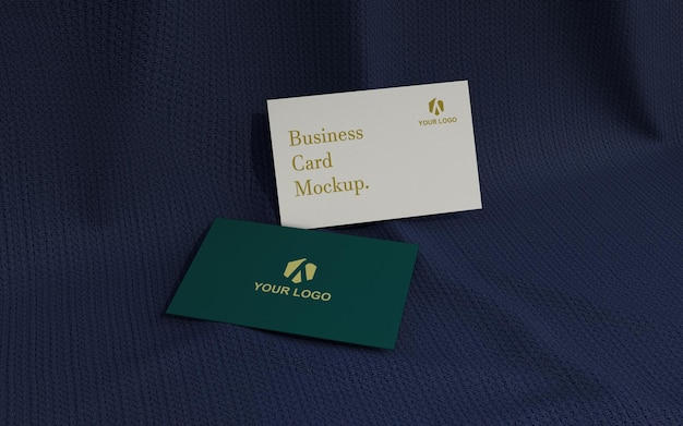 Minimalistic business card mockup on the dark fabric