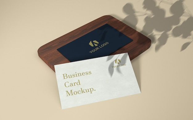 Minimalistic business card stack mockup