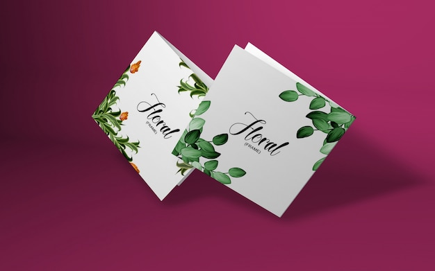Minimalistic card mockup with cherry branch