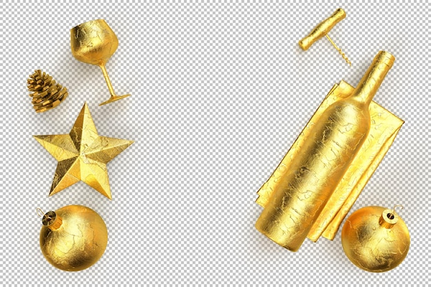 Minimalistic christmas composition with golden wine bottle, glass, corkscrew and decoration objects