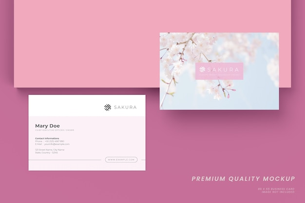 Minimalistic and elegant composition of business card mockup