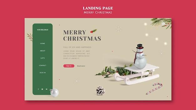 Minimalistic festive christmas landing page template