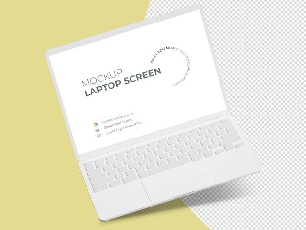 ミニマルなフローティングラップトップ画面のモックアップテンプレート
