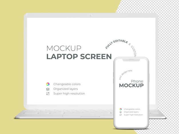 Minimalistic frontview laptop screen and phone mockup template