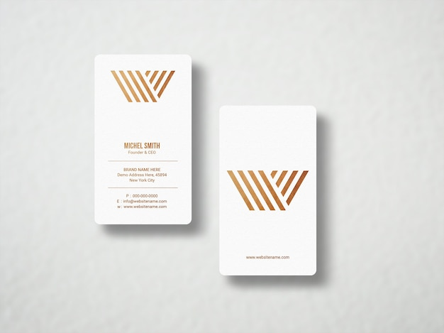 Minimalistic gold foil business card mockup