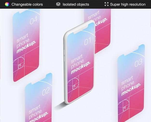 ミニマルなハイアングルのスマートフォンとアプリの画面のモックアップテンプレート